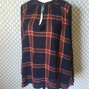 Lucky Brand Plaid Peasant Popover Top Size 3X